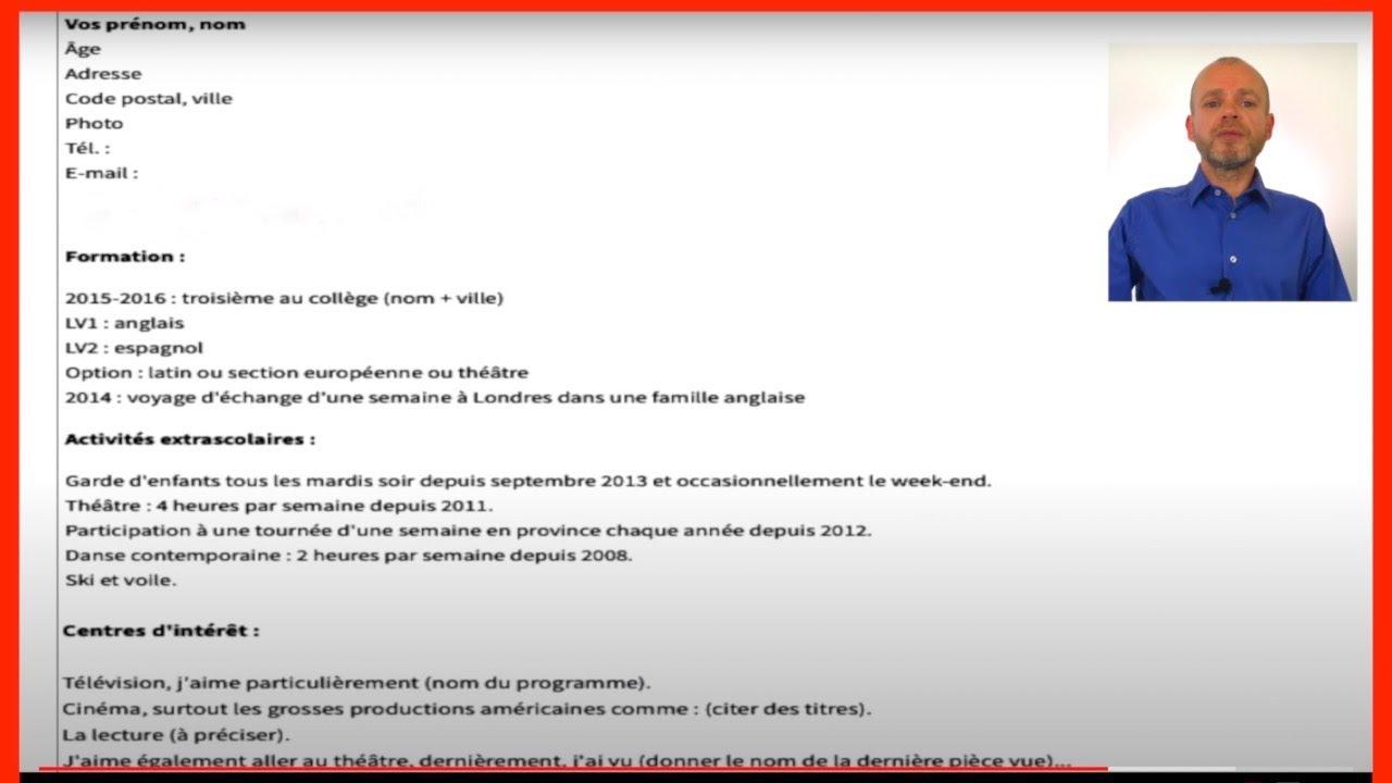 JOB POUR LES 14-17 ANS - COMMENT RÉDIGER UN CV POUR UN JOB ...