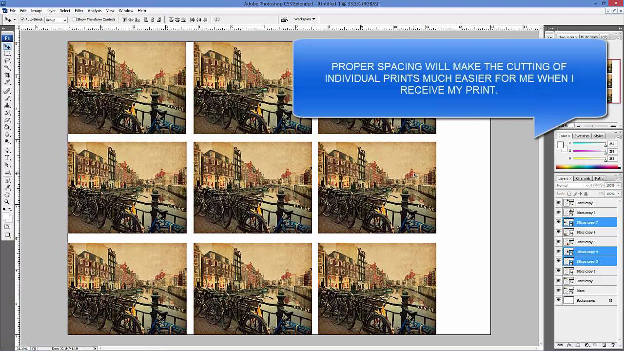 how to tile an image or images onto one print sheet with photoshop