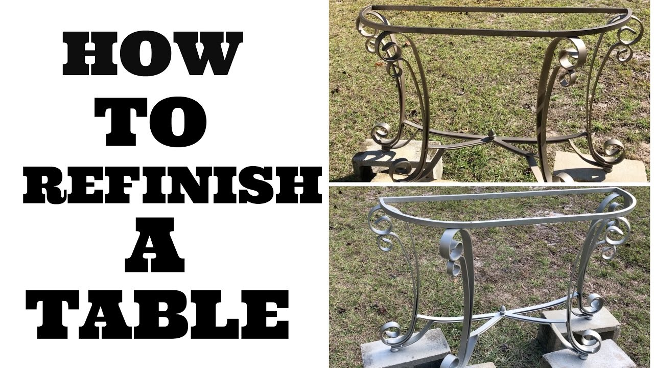 how to refinish a table metal entry way table youtube