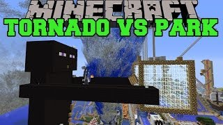 TORNADO MOD VS FUNLAND - Minecraft Mods Vs Maps (Destructive Weather, Amusement Park)