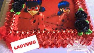 Confeitando bolo ladybug c/ papel arroz especial