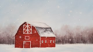 Red Winter Barn Snowy Landscape Acrylic Painting LIVE Tutorial