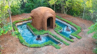 Building Swimming Pool Around The Mud house   Building Skill