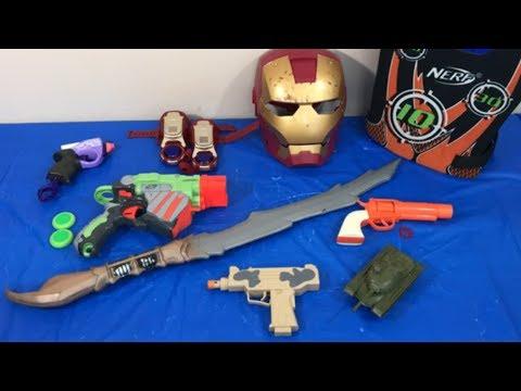 Box of Toys Toy Guns NERF Guns Ironman Sword Military Tank