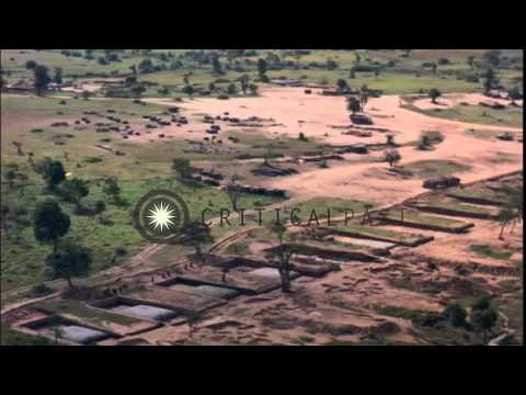 Aerial views of American 1st Cavalry Division area and Ankhe Airfield in South Vi...HD Stock Footage