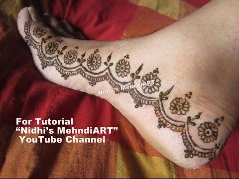 Diwali festival special feet border strip henna mehndi for Where can i get a henna tattoo near me