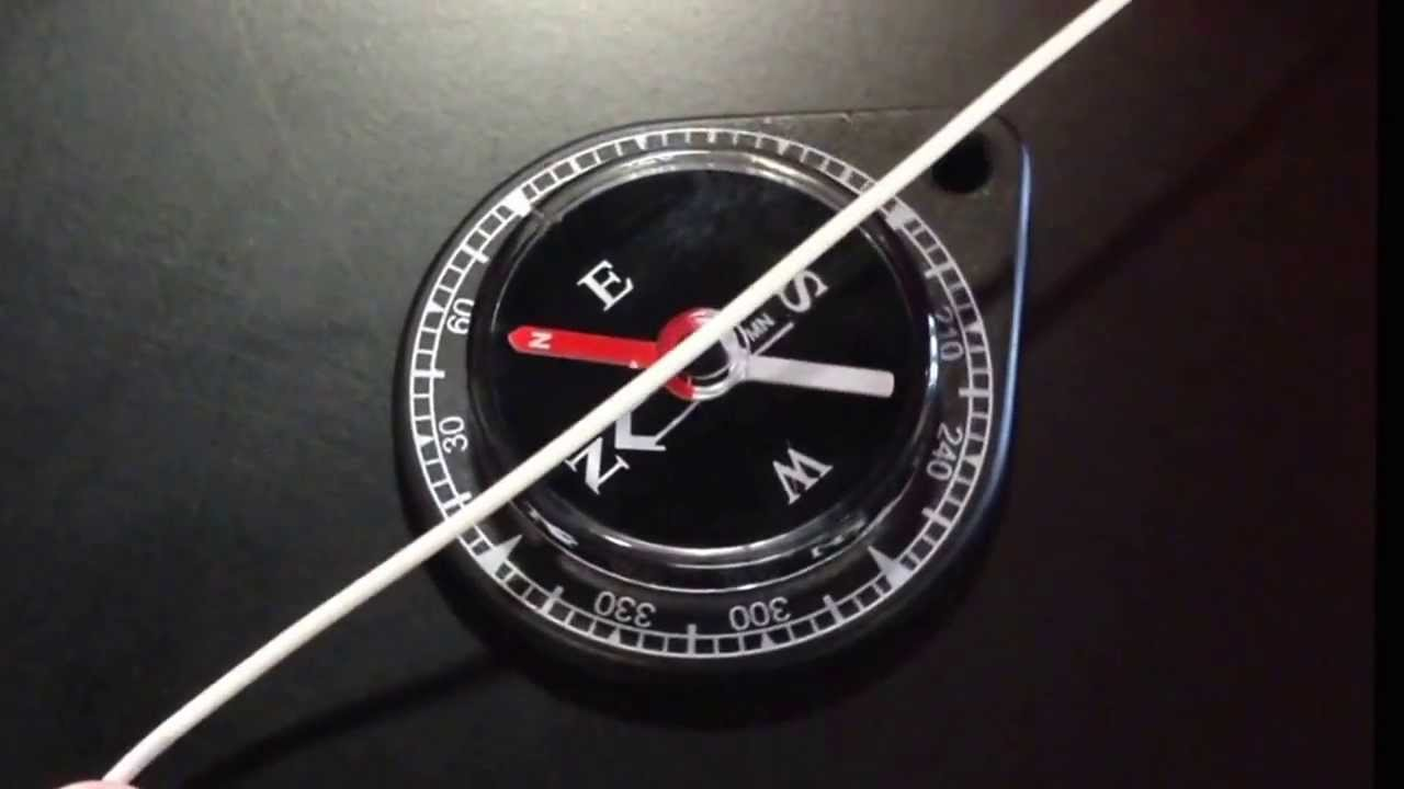 Compass deflected by current in wire. - YouTube