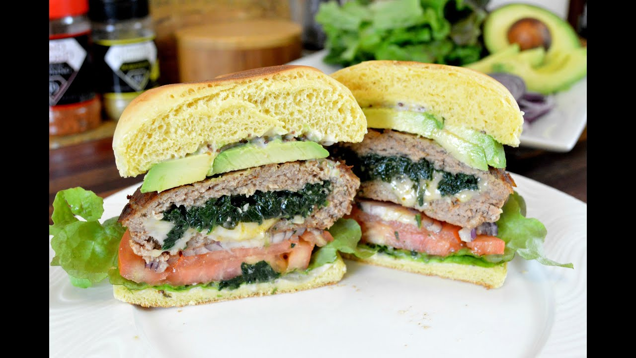 SPINACH and CHEESE STUFFED TURKEY BURGERS |Turkey Burger Recipe |Cooking With Carolyn
