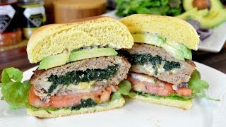 Spinach & Cheese Stuffed Turkey Burgers Turkey Burger Recipe Cooking With Carolyn