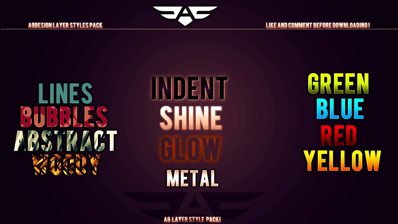 free layer style pack psd download youtube