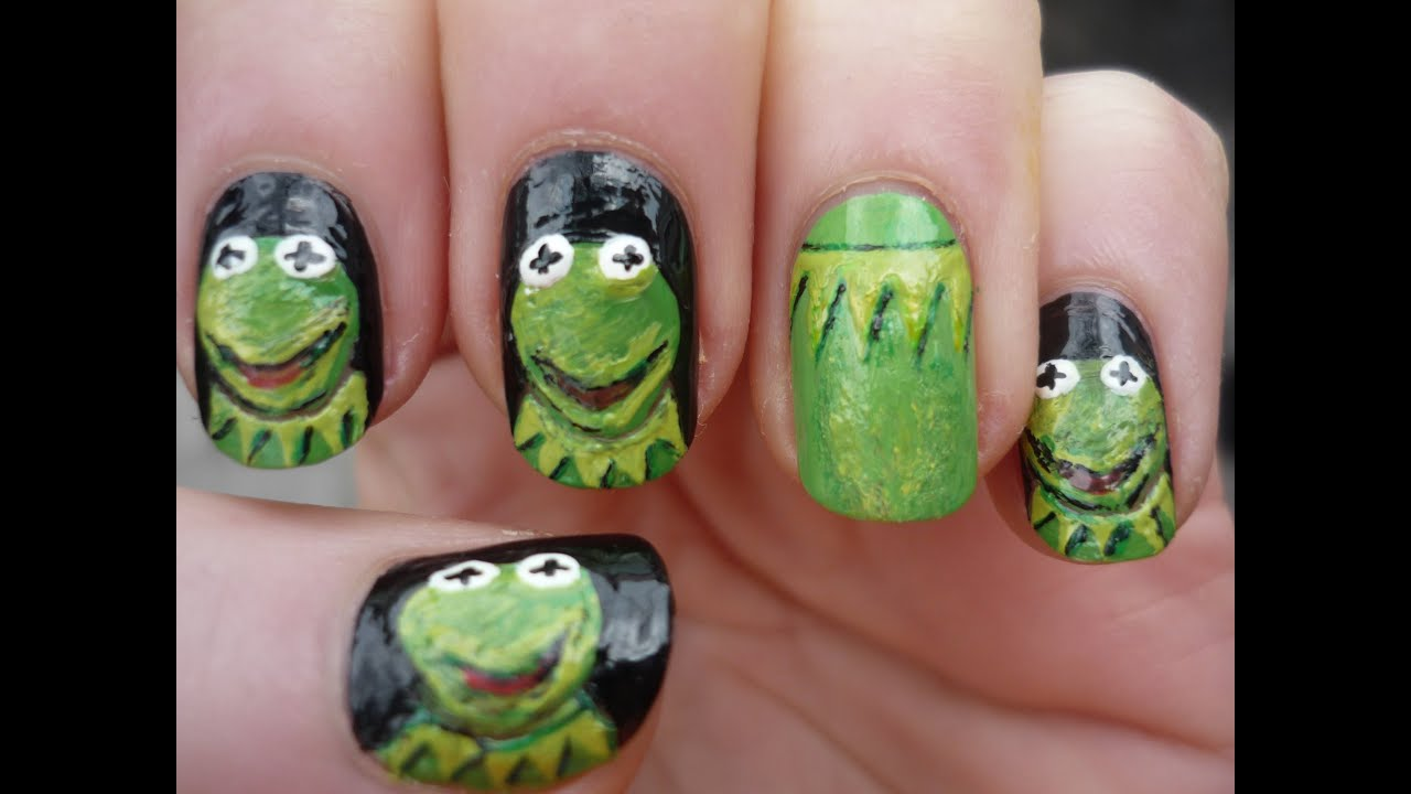 Kermit the Frog Nail Art Tutorial - YouTube