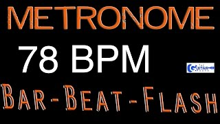 78 BPM (Beats Per Minute) Metronome Click Track - Bar-Beat -Flash