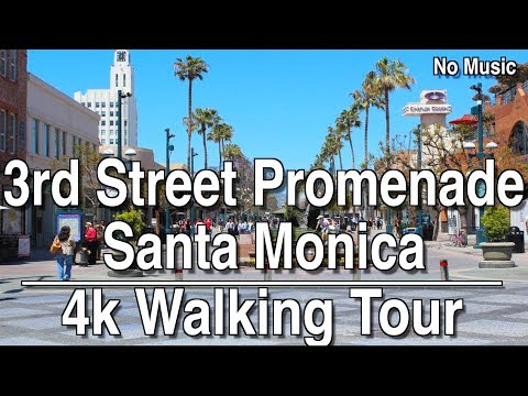 ⁴ᴷ Walking Tour Santa Monica 3rd Street Promenade | 4K Dji Ronin | No Music