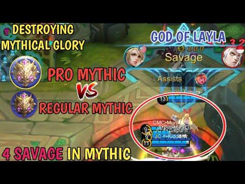 PRO MYTHIC vs REGULAR MYTHIC | DESTROYING MYTHICAL GLORY | GOD OF LAYLA