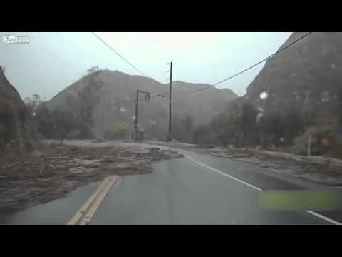 Dashcam captures flash flood in California as driver flees in reverse
