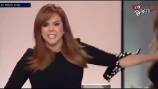Maria Celeste empuja a su estilista durante una transmisión  ¡En Vivo!