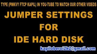 IDE Hard disk drive jumper setting for master slave