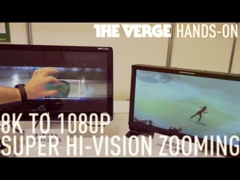 Super Hi-Vision zooming from 8K to 1080p demo
