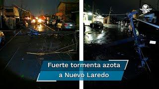 Suspensión en el servicio de agua potable, energía, edificios destrozados, árboles, anuncios espectaculares caídos y camiones de carga pesada volcados por los fuertes vientos de la tormenta que azotó Nuevo Laredo