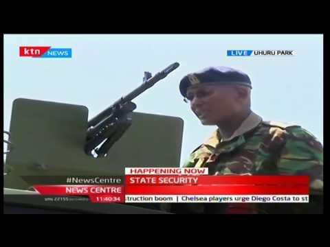 President Uhuru Kenyatta inspects Kenya Army Tankers at Uhuru Park
