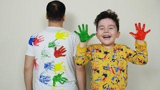 Yusuf Sihirli Boyalarla Babasına Şaka Yaptı | Kid pretend play with painted hand