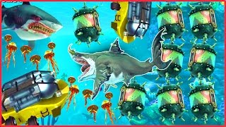 WORLDS BIGGEST SUBMARINE BOSS DESTROYED! - Hungry Shark World Part 14 (HSW Dangers Part 1 / 2)