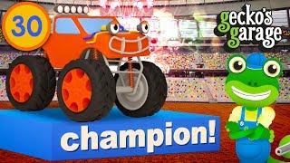 Monster Truck Backflips! | Gecko's Garage | Educational Videos For Children | Trucks For Kids