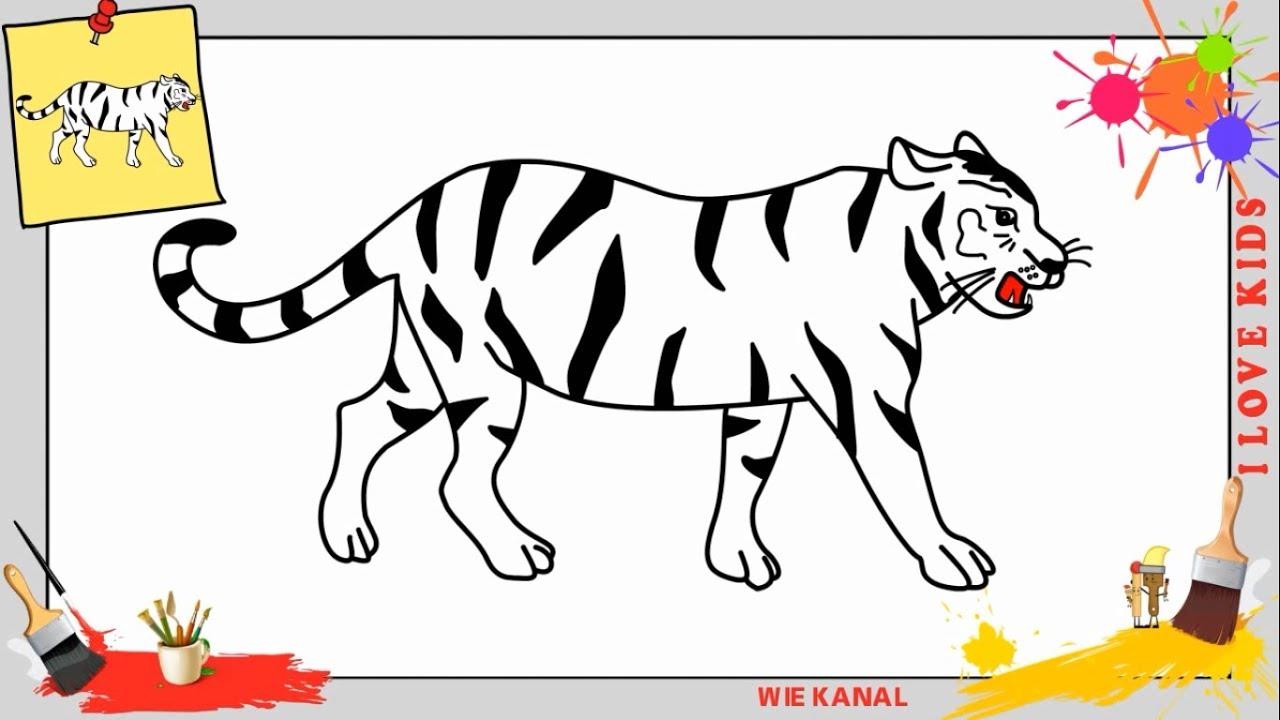 Tiger zeichnen 3 schritt f r schritt f r anf nger kinder zeichnen lernen youtube - Image dessin tigre ...