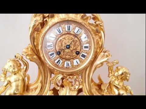 Large Decorative Antique French Ormolu Rococo Clock Garniture