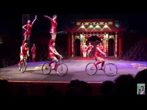 Awesome circus::girl gymnasts on bicycles