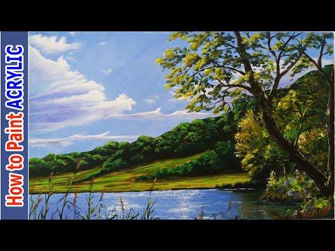 Akrilik ile MANZARA Resmi Nasıl Yapılır – 9   Acrylic Landscape Painting Techniques   Tutorials