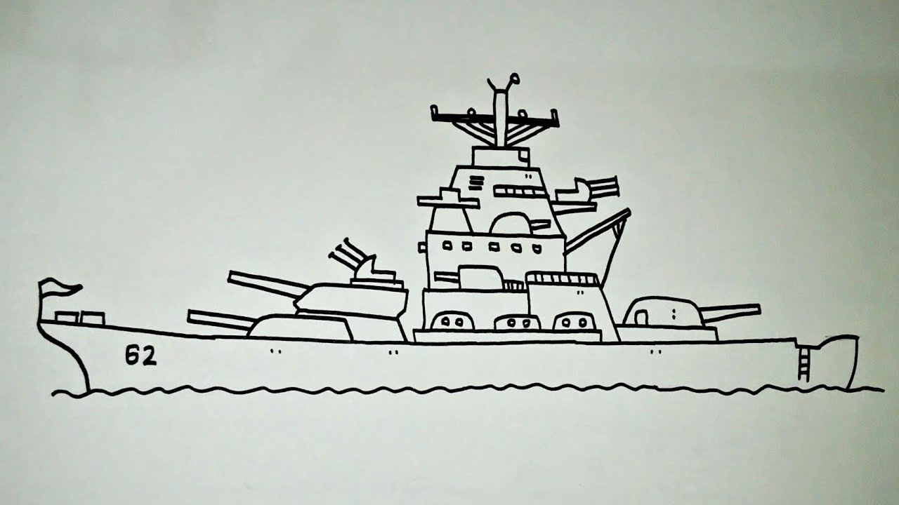 Cara Menggambar Kapal Perang Yamato Jepang Wwii Youtube