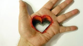 Drawing Heart Hole in Hand - 3d Trick Art on Hand