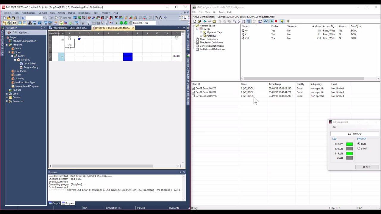 GX Works3 linked to MX OPC Server using GX Simulator3