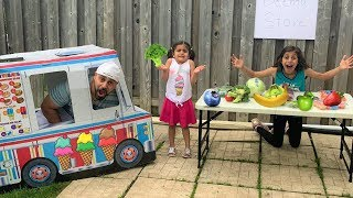 Deema selling Healthy food at store and Ice Cream truck!!
