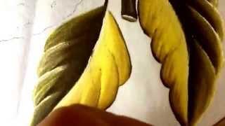 Pintando folhas de morango