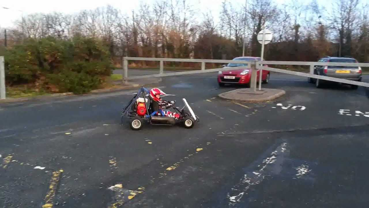 Honda Go Kart 5 year old kid driving his 150cc go-kart 3.8hp Honda ...