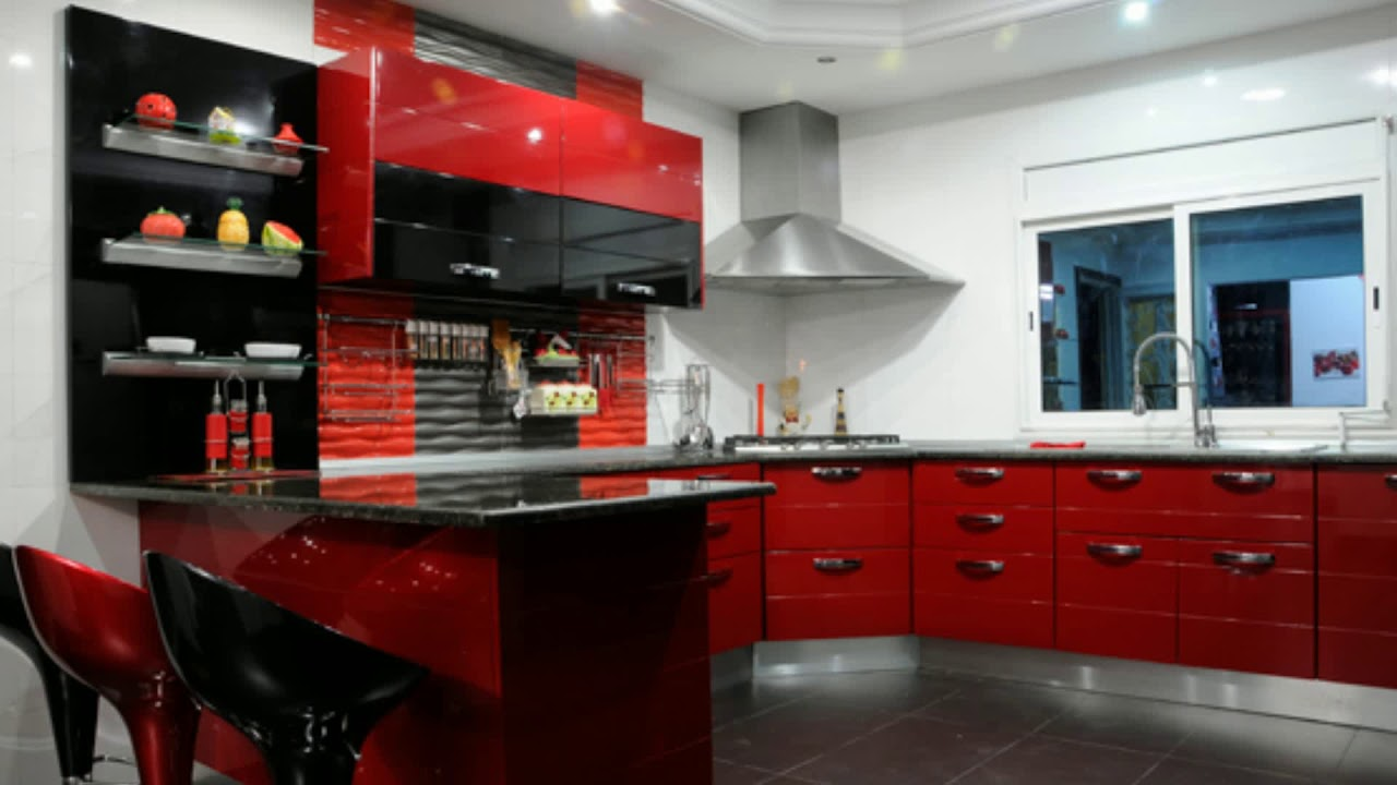 meuble cuisine rouge laqu youtube. Black Bedroom Furniture Sets. Home Design Ideas