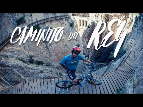 David Cachon rides El Caminito del Rey on a mountain bike