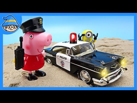Police officer Peppa Pig goes on a police car. Minions police are also with you.