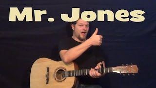 Mr. Jones (COUNTING CROWS) Easy Strum Guitar Lesson - Chords How to Play - Munson