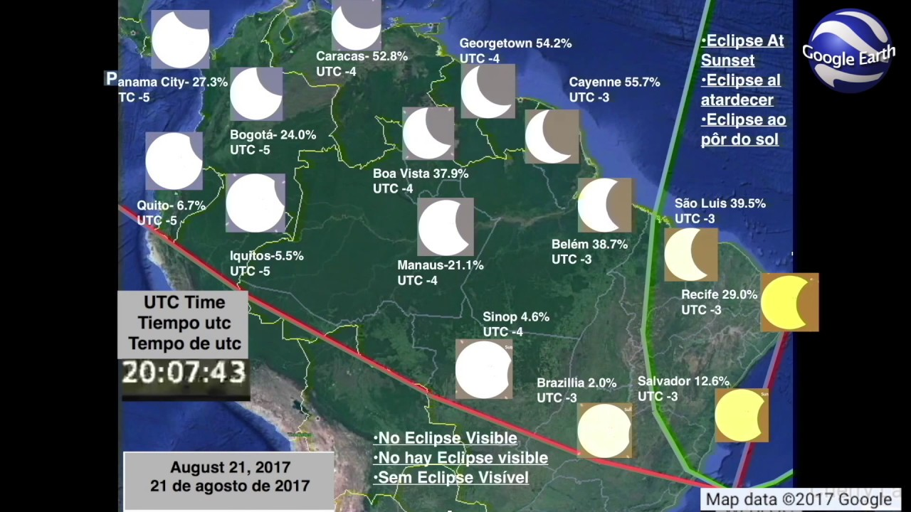 South America August 2017 Solar Eclipse Animation YouTube