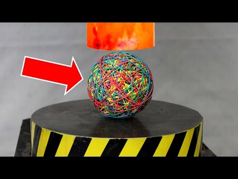 EXPERIMENT Glowing 1000 degree HYDRAULIC PRESS 100 TON vs RUBBER BAND BALL