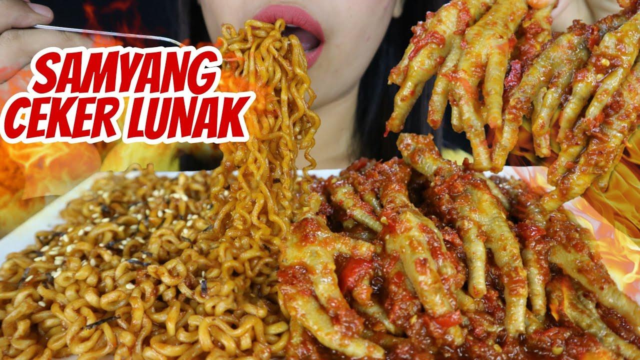 SAMYANG + CEKER LUNAK PEDAS MERCON 🍝 | asmr mukbang Indonesia 🇮🇩