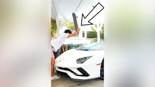 Hitting This Lamborghini Aventador With A Skateboard.. #Shorts