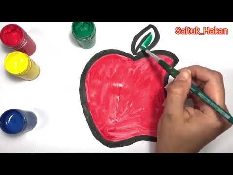 Haydi Arkadaşlar Kalemi Elimize Alıp✍  Bir Elma Yapalım Ve Boyayalım ✍