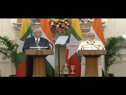 PM Shri Narendra Modi in a joint press statement with President of Myanmar, Mr. Htin Kyaw