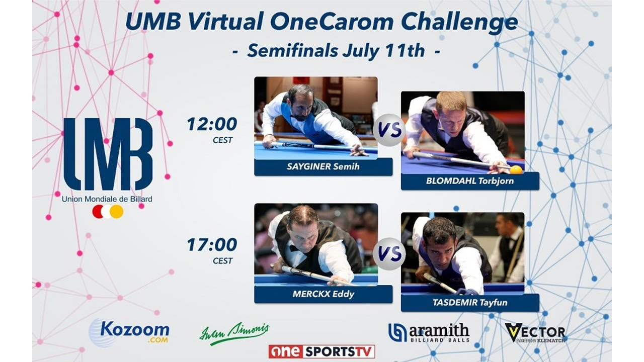 [UMB Virtual OneCarom Challenge] Semi Final LIVE / Eddy MERCKX (BE)  VS Tayfun TASDEMIR (TR)