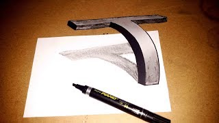How to Draw OF 3D T drawing art step by step artist sketch how-to new 2017 art supplies