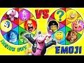 Emoji Movie VS Inside Out Spin The Wheel Game! Gene, Smiler, Jailbreak, Hi-5, Joy, Candy, Blind Bags